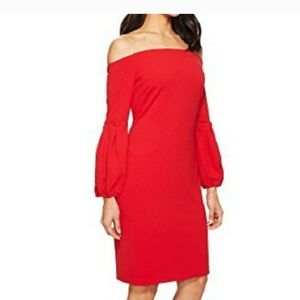 Vince camuto red off shoulder party dress